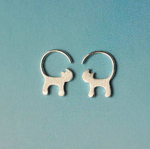 Sterling Silver Cute Long Tailed Cat Design Stud Earrings