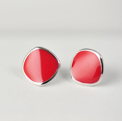 Sterling Silver Natural Red Coral Geometric Circle Stud Earrings