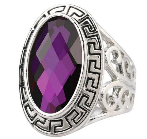 18K Gold Plated White Gold Finish Trillionth Cut Amethyst Stone Ring Sz 7-10
