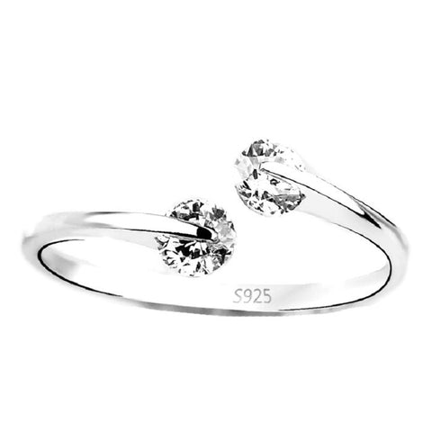Sterling Silver Cute Double Round CZ Adjustable Band Ring