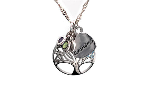 18K Gold Plated Unique Grandma Tree of Life Multi Color Pendant w/ Chain