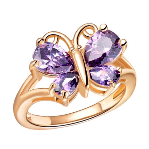 18K Gold Plated Rose Gold Finish Gorgeous Amethyst CZ Butterfly Ring Sz 6-9
