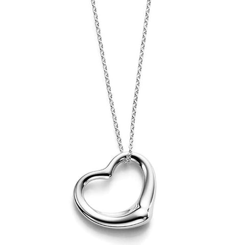 18K Gold Plated White Gold Finish Classic Heart Pendant w/ Chain