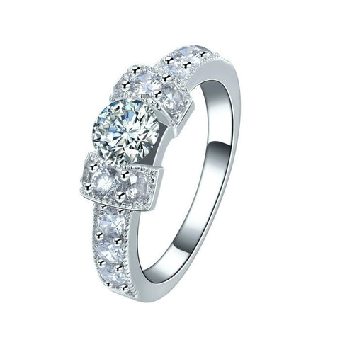 Sterling Silver Cute Design CZ Promise / Wedding Ring Sz 6-8