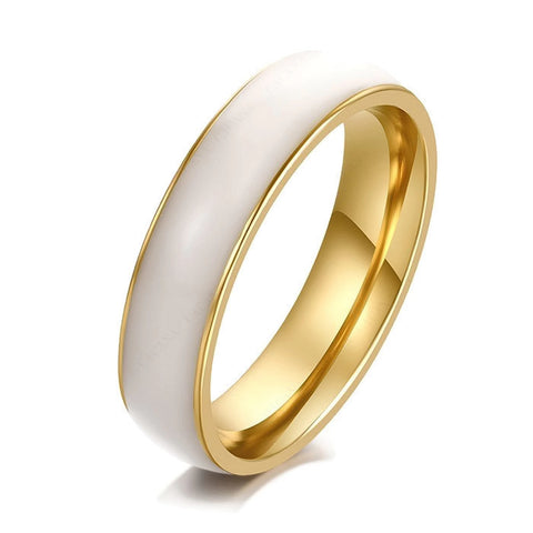 Stainless Steel Stunning White Ceramic Design Band Ring Sz 7-11
