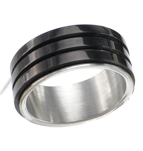 Stainless Steel Thick Design Black Overlay Band Ring Sz 8-11