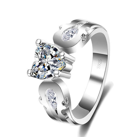 Sterling Silver Stunning Heart Cut CZ Ring Sz 7-9