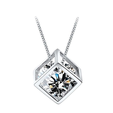 18K Gold Plated White Gold Finish Cube Design CZ Pendant w/ Chain