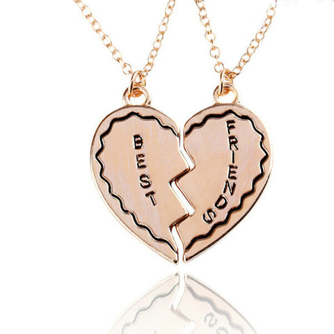 18K Gold Plated Best Friends Cracked Heart Pendants w/ Chains