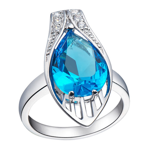 Sterling Silver Stunning Water Drop Design Blue Topaz Ring Sz 6-9