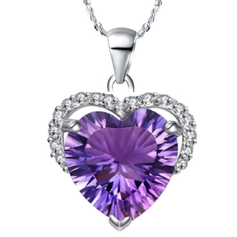 18k Gold Plated White Gold Finish Stunning Amethyst Cut Pendant w/ Chain