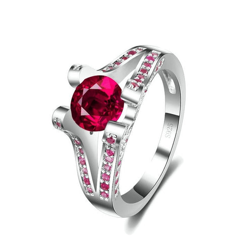Sterling Silver Gorgeous Round Ruby Ring Sz 7-9