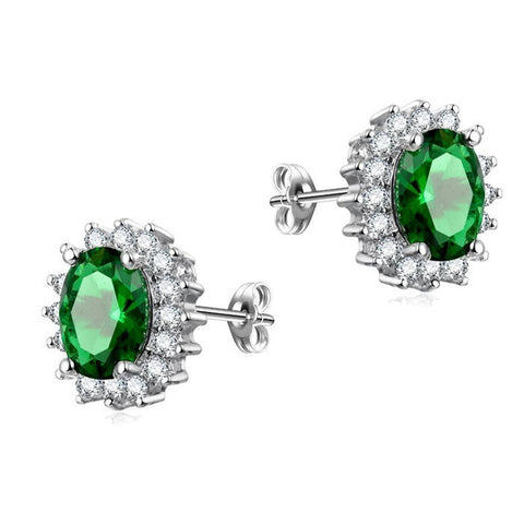 Sterling Silver Gorgeous Oval Green Emerald Style Stud Earrings