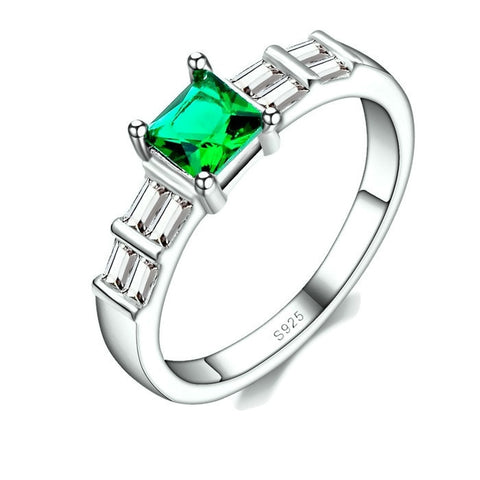 Sterling Silver Cute Princess Cut Emerald Cut Ring Sz 6-9