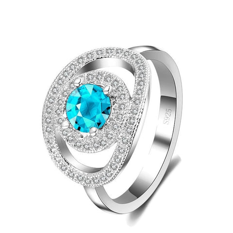 Sterling Silver Super Elegant Geo Metric Design Round Blue Topaz Ring Sz 7-9