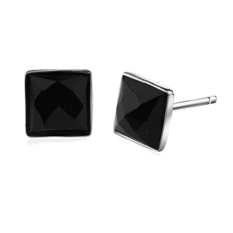 gold square shaped mens earrings ctw solid yellow and in stud white diamond