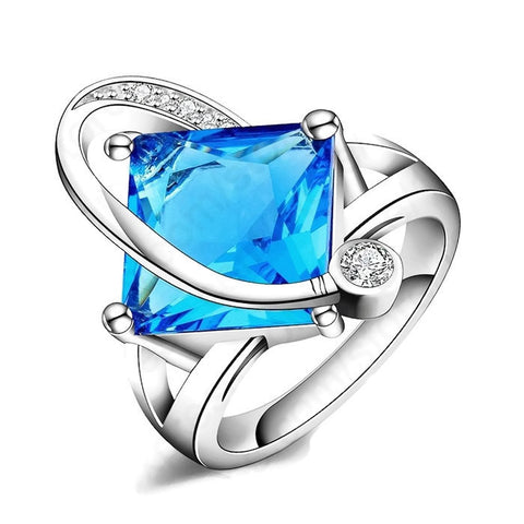 Sterling Silver Beautiful Square Art Deco Design Blue Topaz Ring Sz 8