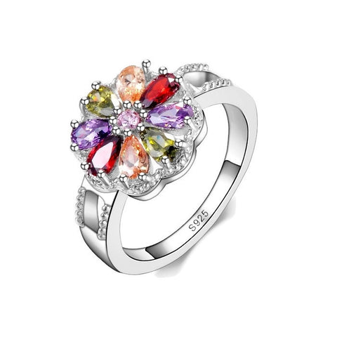 Sterling Silver Multi Colored Floral Design Birthstone Ring Sz 6-9