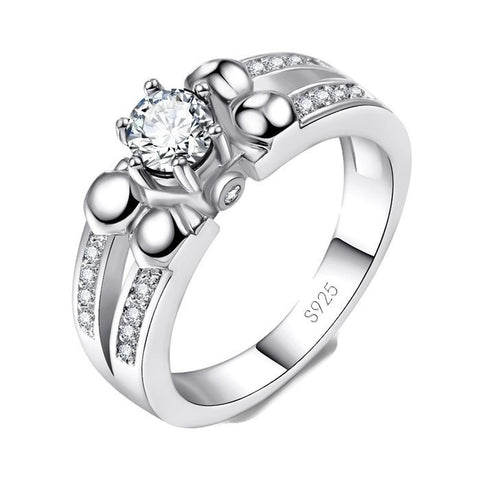 Sterling Silver Cute Clear CZ Cocktail Ring Sz 6-9