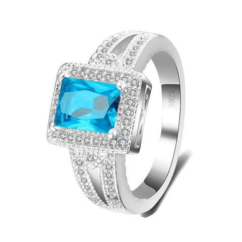 Sterling Silver Fiery Rectangle Blue Topaz Ring Sz 6-9