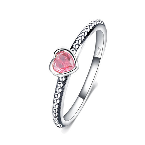 Sterling Silver Cute & Unique Pink CZ Heart Ring Sz 5-9