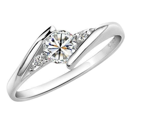 18k Gold Plated White Gold Finish Cute Solitaire CZ Ring Sz 4.5-10
