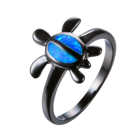 18K Gold Plated Black Gold Filled Cute Blue Opal Turtle Ring Sz 6-10