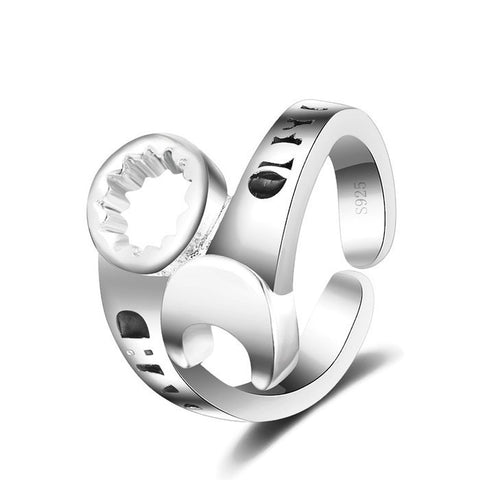 Sterling Silver Brilliant Design Wrench Tool Design Ring Adjustable