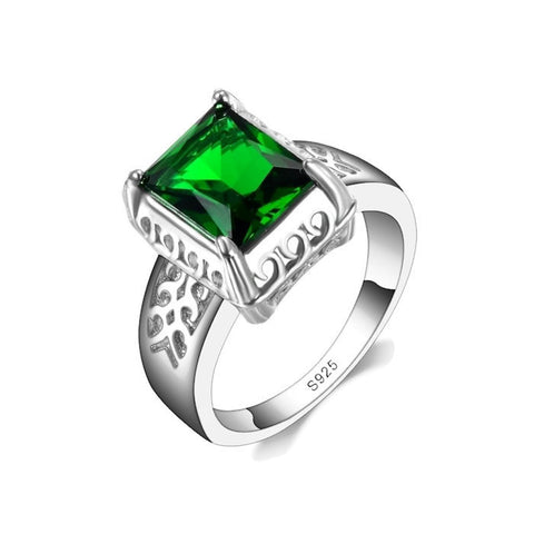 Sterling Silver Classic Solitaire Rectangle Cut Emerald Ring Sz 6-9