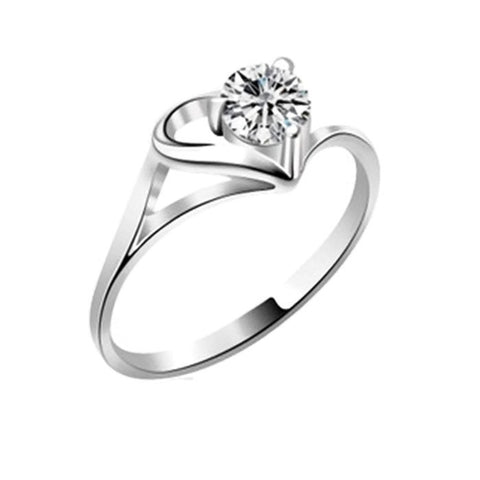 18k Gold Plated White Gold Finish Cute Solitaire CZ Heart Ring Sz 6.75-9