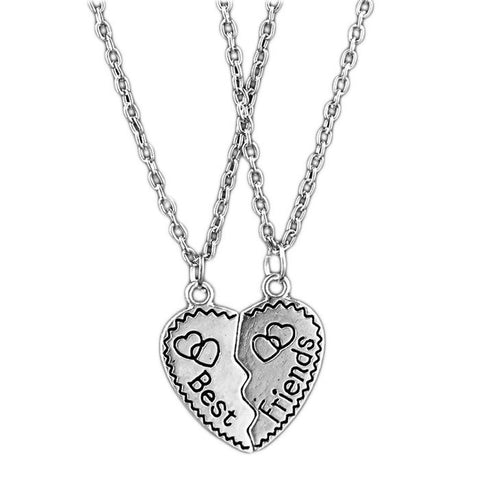 18K Gold Plated White Gold Finish Best Friends Cracked Heart Pendants w/ Chains