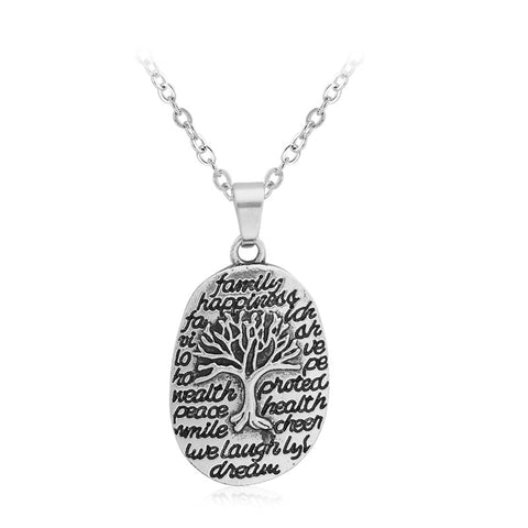 18K Gold Plated White Gold Finish Family Tree Pendant w/ Chain