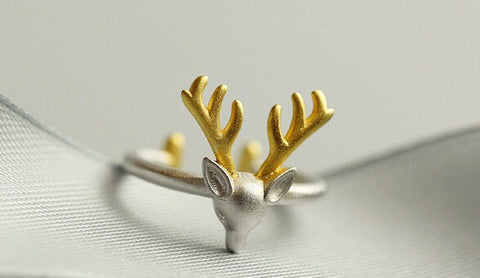 Sterling Silver Unique Deer Elk Design Adjustable Ring