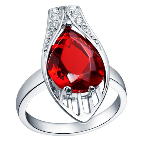 Sterling Silver Stunning Water Drop Design Ruby Red Ring Sz 6-9