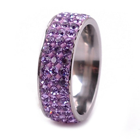 Stainless Steel Thick Amethyst CZ Eternity Band Ring Sz 6-9