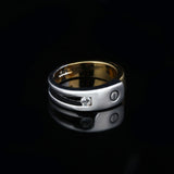 Stainless Steel Cute Design 2 Tone Forever CZ Ring Band Sz 5-8
