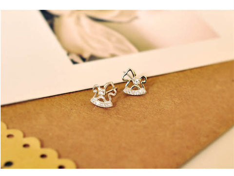 Sterling Silver Cute Rocking Horse Design Stud Earrings
