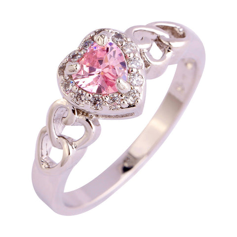18K Gold Plated White Gold Finish Cute Pink CZ Heart Ring Sz 6-13