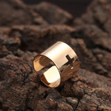 18K Gold Plated Cross Cut Out Thick Adjustable Band Ring