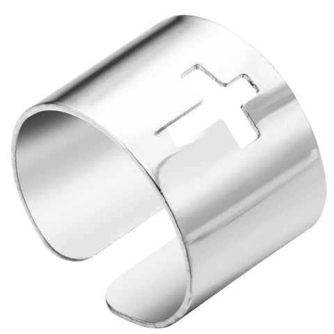 18K Gold Plated White Gold Finish Cross Cut Out Thick Adjustable Band Ring