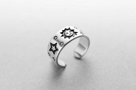 Sterling Silver Unique Sun & Star Design Adjustable Band Ring