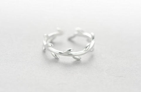 Sterling Silver Unique Style Olive Branch Tree Leaves Adjustable Band Ring