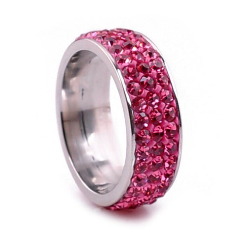 Stainless Steel Thick Pink CZ Eternity Band Ring Sz 6-9