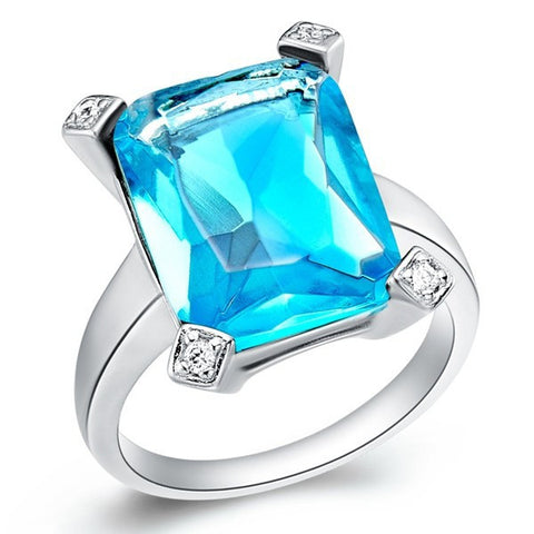Sterling Silver Solid Rectangle Blue Topaz Cut Ring Sz 7