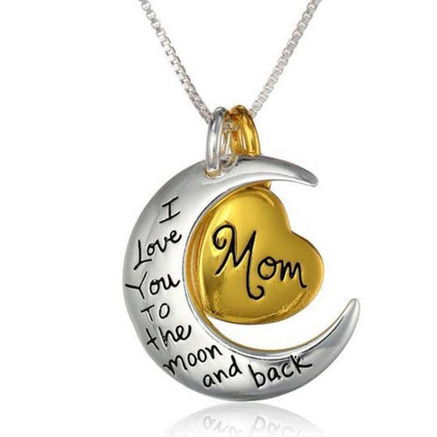 18K Gold Plated White Gold Finish Moon & Back Mom Pendant w/ Chain