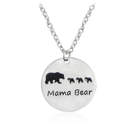 18K Gold Plated White Gold Finish Mama Bear / Baby Bear Pendant w/ Chain