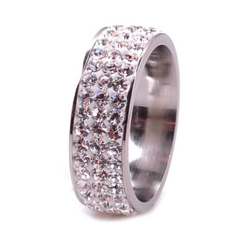 Stainless Steel Thick Clear CZ Eternity Band Ring Sz 6-9