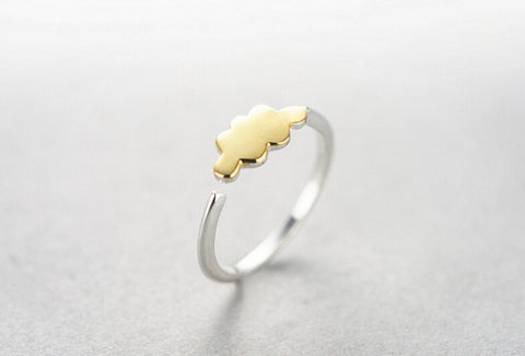 Sterling Silver Unique Design Gold Cloud Adjustable Band Ring