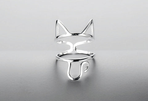Sterling Silver Cute Hallow Cat Cut Out Adjustable Band Ring
