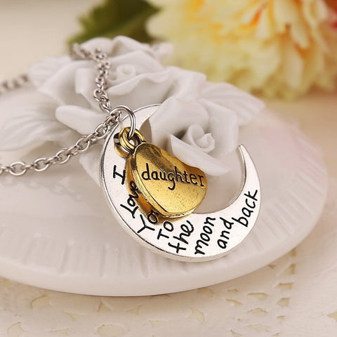 18K Gold Plated White Gold Finish Moon & Back Daughter Pendant w/ Chain
